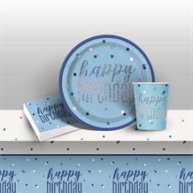 Blue and Silver Holographic Happy Birthday 8 to 48 Guest Starter Party Pack - Tablecover | Cups | Plates | Napkins