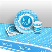 Blue Polka Dot Baby Shower 8 to 48 Guest Starter Party Pack - Tablecover | Cups | Plates | Napkins