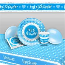Blue Polka Dot Baby Shower 8 to 48 Guest Premium Party Pack - Tableware | Balloons | Decoration