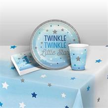 Blue Twinkle Star 1st Birthday 8 to 48 Guest Starter Party Pack - Tablecover | Cups | Plates | Napkins