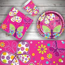 Butterfly Sparkle 8 to 48 Guest Starter Party Pack - Tablecover | Cups | Plates | Napkins