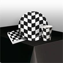 Chequered Flag Racing 8 to 48 Guest Starter Party Pack - Tablecover | Cups | Plates | Napkins