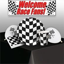 Chequered Flag Racing 8 to 48 Guest Premium Party Pack - Tableware | Balloons | Decoration