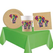 Colourful Elephants 8 to 48 Guest Starter Party Pack - Tablecover | Cups | Plates | Napkins