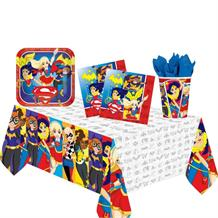 DC Super Hero Girls 8 to 48 Guest Starter Party Pack - Tablecover, Cups, Plates Napkins