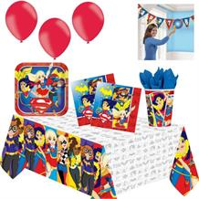 DC Super Hero Girls 8 to 48 Guest Premium Party Pack - Tableware, Balloons & Decorations
