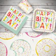 Doughnut | Donut Sprinkles 8 to 48 Guest Starter Party Pack - Tablecover | Cups | Plates | Napkins