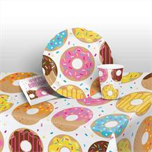 Doughnut Time Party 8 to 48 Guest Starter Party Pack - Tablecover | Cups | Plates | Napkins
