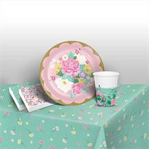 Floral Tea Party 8 to 48 Guest Starter Party Pack - Tablecover | Cups | Plates | Napkins