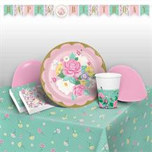 Floral Tea Party 8 to 48 Guest Premium Party Pack - Tableware | Balloons | Decoration
