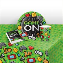 Gaming | Game On 8 to 48 Guest Starter Party Pack - Tablecover | Cups | Plates | Napkins