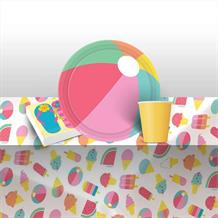 Just Chillin 8 to 48 Guest Starter Party Pack - Tablecover, Cups, Plates Napkins