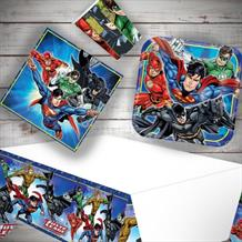 Justice League 8 to 48 Guest Starter Party Pack - Tablecover | Cups | Plates | Napkins
