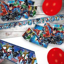 Justice League 8 to 48 Guest Premium Party Pack - Tableware | Balloons | Decoration