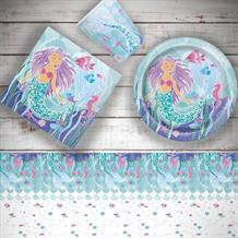 Mermaid 8 to 48 Guest Starter Party Pack - Tablecover | Cups | Plates | Napkins