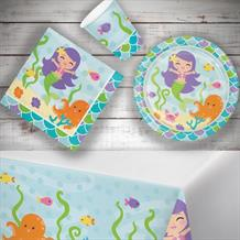 Mermaid | Ocean 8 to 48 Guest Starter Party Pack - Tablecover | Cups | Plates | Napkins