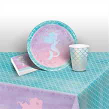 Mermaid Shine 8 to 48 Guest Starter Party Pack - Tablecover | Cups | Plates | Napkins