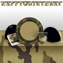 Military Camouflage 8 to 48 Guest Premium Party Pack - Tableware | Balloons | Decoration