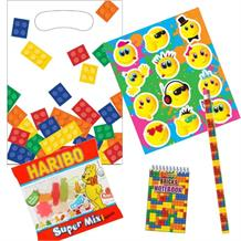Brick | Block Ready Filled Party Bag with Sweets, Stickers + 2 Favours