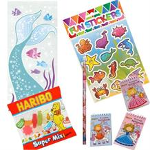 Mermaid Ready Filled Party Bag with Sweets, Stickers + 2 Favours