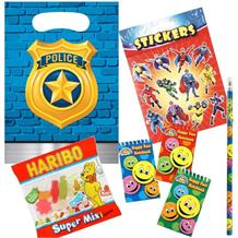 Police Ready Filled Party Bag with Sweets, Stickers + 2 Favours