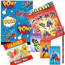 Superhero Slogans Cartoon Ready Filled Party Bag with Sweets, Stickers + 2 Favours