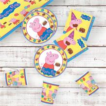 Peppa Pig Cake 8 to 48 Guest Starter Party Pack - Tablecover | Cups | Plates | Napkins