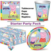 Peppa Pig Ice Cream 8 to 48 Guest Starter Party Pack - Tablecover | Cups | Plates | Napkins