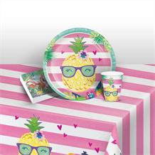 Pineapple and Friends Starter Party Pack - Tablecover | Cups | Plates | Napkins