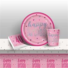 Pink and Silver Holographic 40th Birthday 8 to 48 Guest Starter Party Pack - Tablecover | Cups | Plates | Napkins