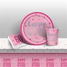 Pink and Silver Holographic 60th Birthday 8 to 48 Guest Starter Party Pack - Tablecover | Cups | Plates | Napkins