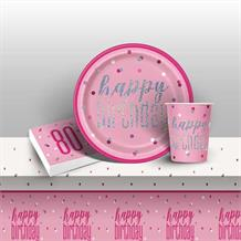 Pink and Silver Holographic 80th Birthday 8 to 48 Guest Starter Party Pack - Tablecover | Cups | Plates | Napkins
