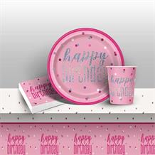 Pink and Silver Holographic Happy Birthday 8 to 48 Guest Starter Party Pack - Tablecover | Cups | Plates | Napkins