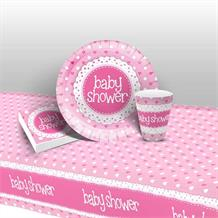 Pink Polka Dot Baby Shower 8 to 48 Guest Starter Party Pack - Tablecover | Cups | Plates | Napkins