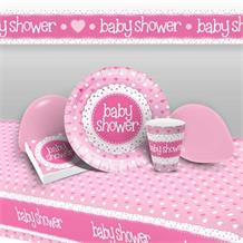 Pink Polka Dot Baby Shower 8 to 48 Guest Premium Party Pack - Tableware | Balloons | Decoration