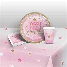 Pink Twinkle Star 1st Birthday 8 to 48 Guest Starter Party Pack - Tablecover | Cups | Plates | Napkins