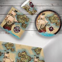 Pirate Map 8 to 48 Guest Starter Party Pack - Tablecover | Cups | Plates | Napkins