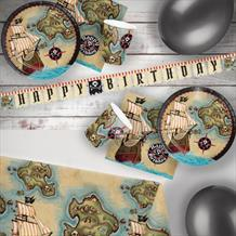 Pirate Map 8 to 48 Guest Premium Party Pack - Tableware | Balloons | Decoration