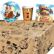 Pirate Treasure 8 to 48 Guest Starter Party Pack - Tablecover | Cups | Plates | Napkins