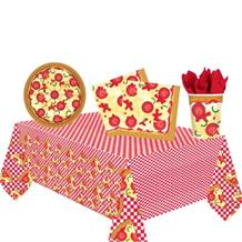 Pizza 8 to 48 Guest Starter Party Pack - Tablecover, Cups, Plates Napkins