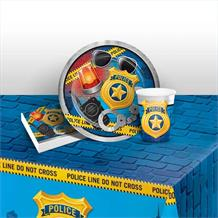 Police Party 8 to 48 Guest Starter Party Pack - Tablecover | Cups | Plates | Napkins