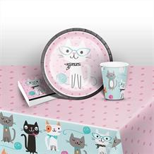 Purrfect Cat Party 8 to 48 Guest Starter Party Pack - Tablecover | Cups | Plates | Napkins