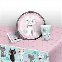Purrfect Cat Happy Birthday Party 8 to 48 Guest Starter Party Pack - Tablecover | Cups | Plates | Napkins