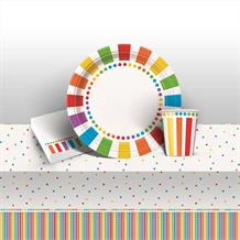 Rainbow Colourful Happy Birthday 8 to 48 Guest Starter Party Pack - Tablecover | Cups | Plates | Napkins