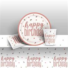 Rose Gold Holographic 100th Birthday 8 to 48 Guest Starter Party Pack - Tablecover | Cups | Plates | Napkins