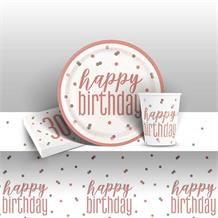 Rose Gold Holographic 30th Birthday 8 to 48 Guest Starter Party Pack - Tablecover | Cups | Plates | Napkins