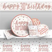 Rose Gold Holographic 30th Birthday 8 to 48 Guest Premium Party Pack - Tableware | Balloons | Decoration