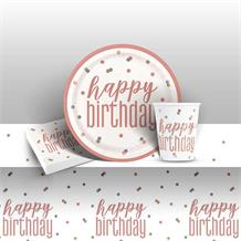Rose Gold Holographic Happy Birthday 8 to 48 Guest Starter Party Pack - Tablecover | Cups | Plates | Napkins