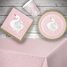 Stylish Swan Starter Party Pack - Tablecover | Cups | Plates | Napkins