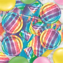 Tie Dye 8 to 48 Guest Premium Party Pack - Tableware | Balloons | Decoration